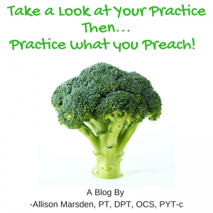Take a look at your practice, then practice what you preach!  A blog by Allison Marsden, PT, DPT, OCS, PYT-c